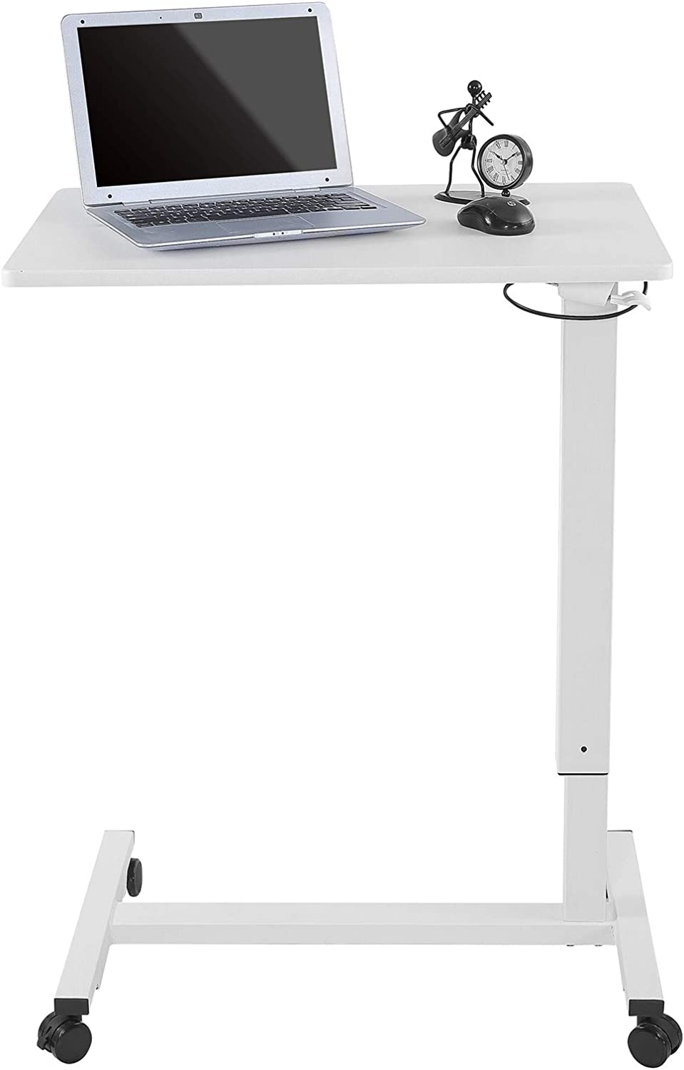 Rolling Adjustable Height Desk for Computer Office Work Kitchen,Standing Desk Laptop Cart Portable Table Mobile Desk with Wheels (White)
