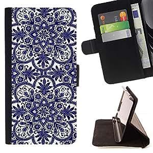 For Sony Xperia Z3 Plus / Z3+ / Sony E6553 (Not Z3) Case , Tarjetas Flor Azul Blanco- la tarjeta de Crédito Slots PU Funda de cuero Monedero caso cubierta de piel