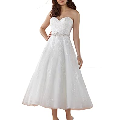 Fishlove Vintage Inspired vestido de novia Tea Length Strapless Lace Bridal Wedding Dresses W23