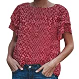 Hotkey Womens Blouses and Tops for Work Womens O-Neck Short Sleeve Flowers Printing T-Shirt Blouse Tops Pink