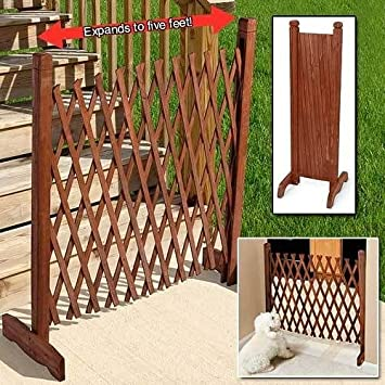 Portable Expanding Indoor Outdoor Privacy Decorative Wood Fence  Expands  12u0026quot ...