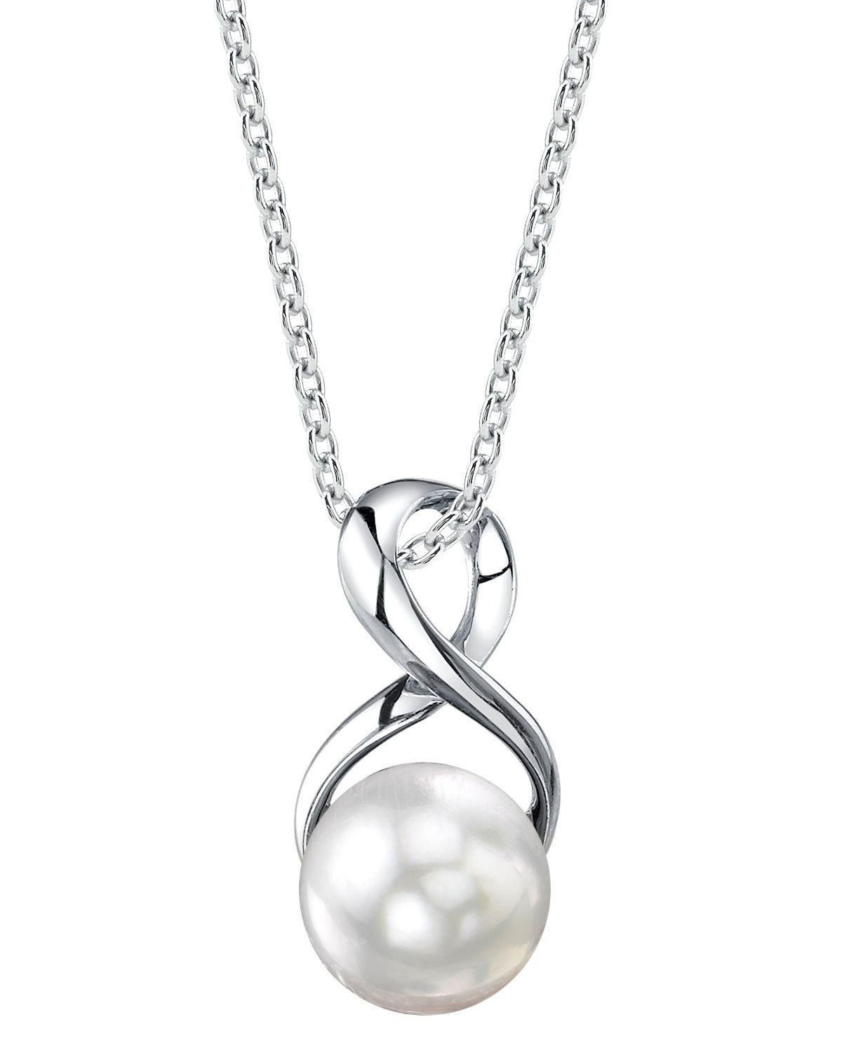 9-10mm Genuine White Freshwater Cultured Pearl Infinity Pendant Necklace for Women