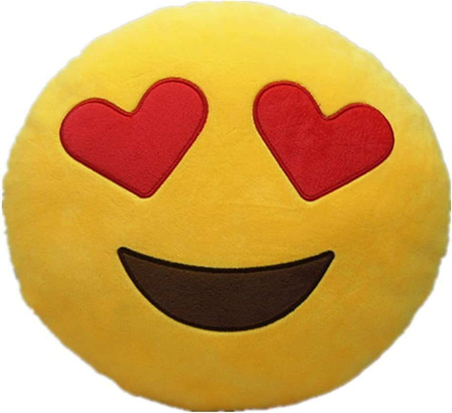 Emoji Emoticono Cojín Almohada Redonda Emoticon Peluche Bordado Sonriente (Emoji 6)