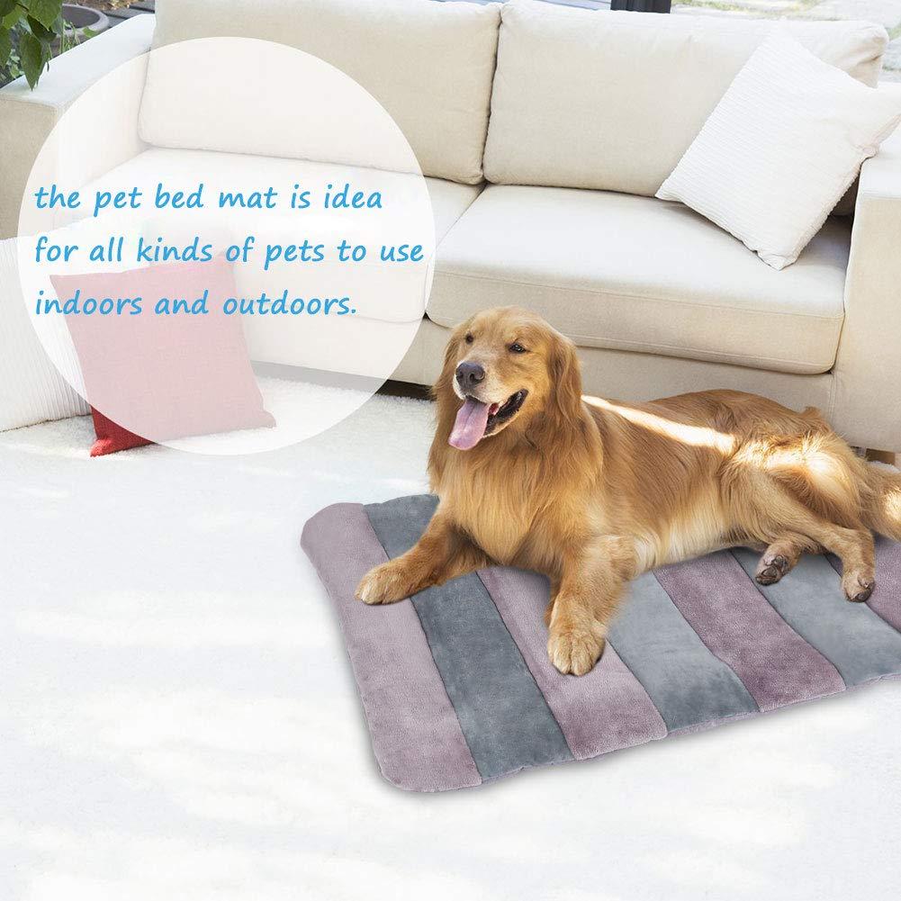 JoicyCo - Alfombrilla de Cama para Perro, Lavable, Antideslizante, Suave, para Mascotas de 27,5/36/42/47 Pulgadas, diseño de Rayas: Amazon.es: Productos ...