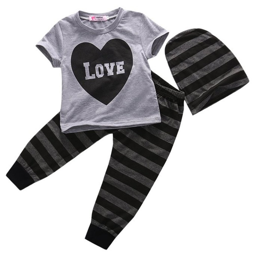 Baby Boys Short Sleeve Love Heart T-shirt and Striped Pants Outfit with Hat Cotton Blend