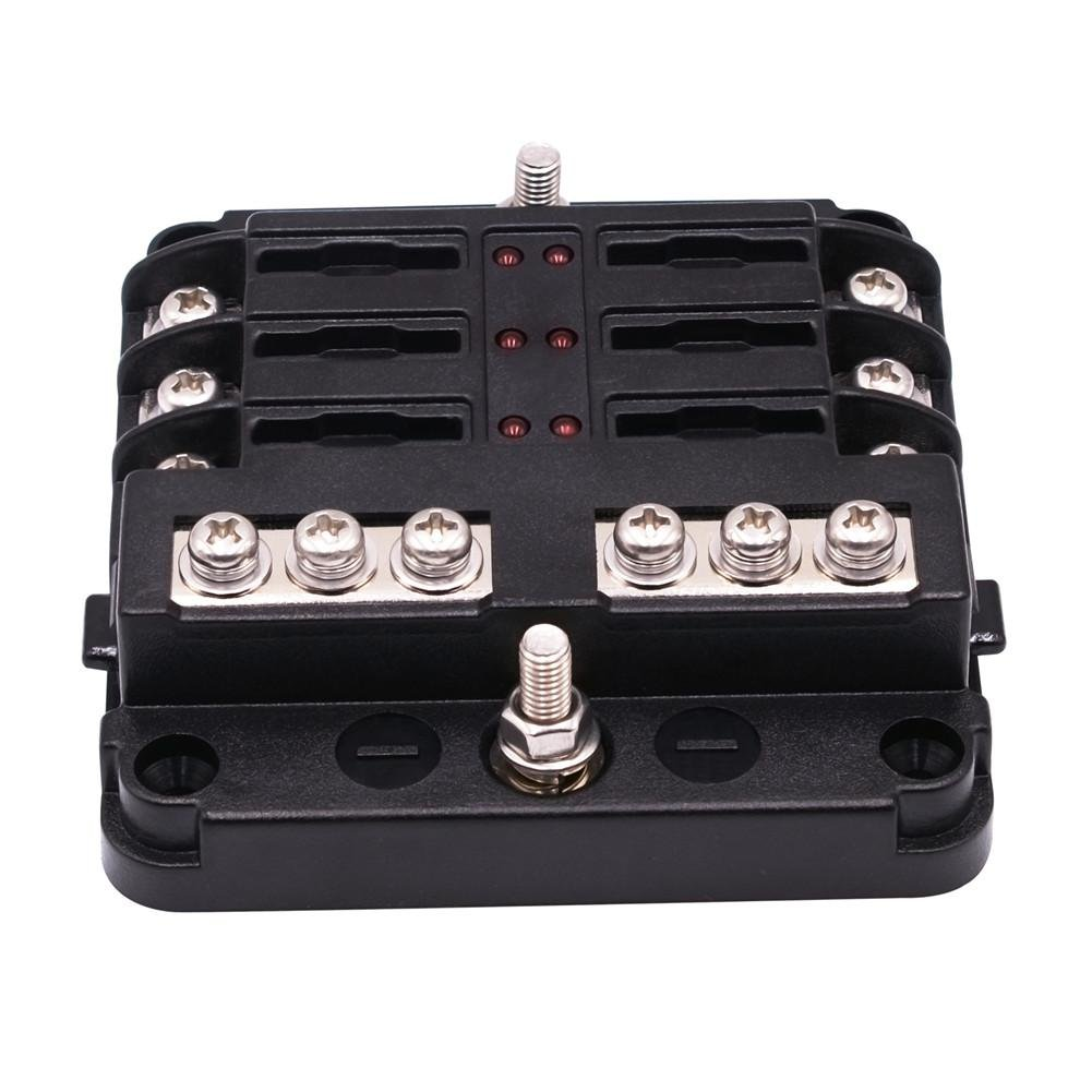 6-Way Fuse Box Independent Positive and Negative Fuse Box Holder Double Fuse Insulation Heat Resistance Flame Retardance with LED Indicator for Car Boat Marine Trike Prom-near