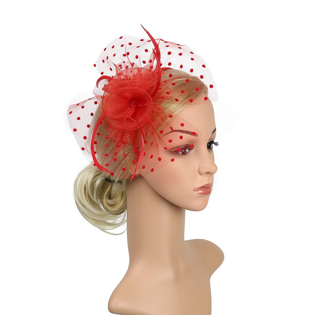 White Vintage Fascinators Hats Women Flower Cocktail Feather Headwear Tea Party Hair Clip Headband