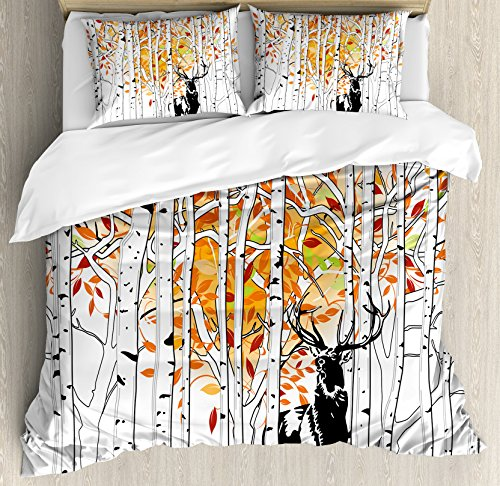Ambesonne Deer Duvet Cover Set, Deer in Forest Autumn Colors Trees Foliage Wilderness Seasonal Artwork, Decorative 3 Piece Bedding Set with 2 Pillow Shams, Kinge Size, Orange Green