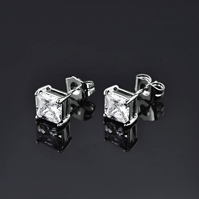 MASOP Diamond CZ Square Pierced Studs Silver Tone 7mm Black Stone Unisex Stud Earrings WKdfYi