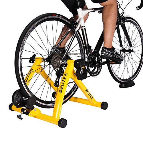 Deuter Indoor Bike Trainer, Portable Bicycle Magnetic Resistance Exercise Stand with Noise Reduction Wheel Yellow