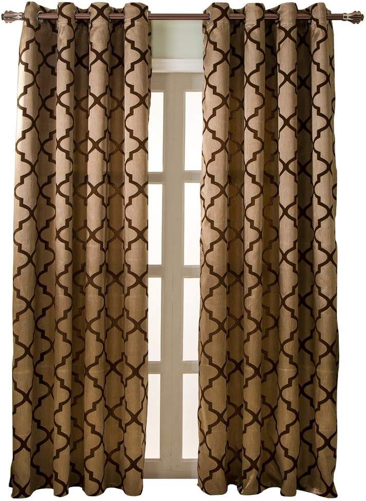 NAPEARL Jacquard Semi-Blackout Grommet Top Curtain Panel Living Room Window Treatment Set of 2 Panels (Brown, 52