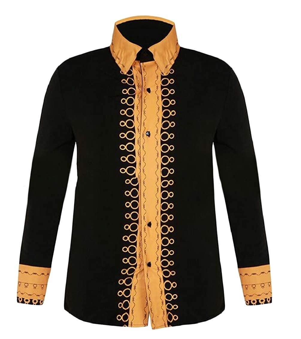 Sweatwater Mens Hip Hop Contrast Color Dashiki Africa Lapel Neck Button Down Shirts