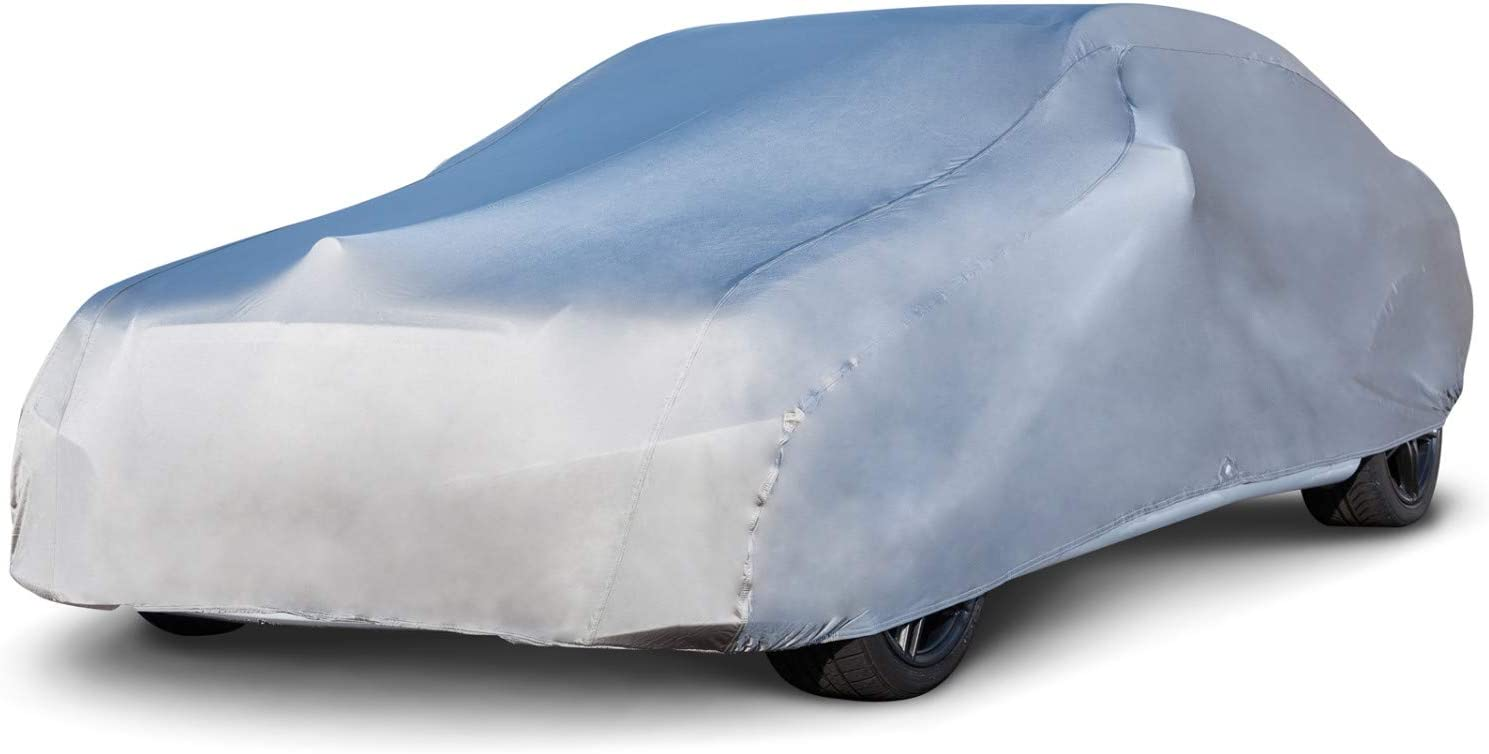 """Budge Indoor Stretch Car Cover, Luxury Indoor Protection, Soft Inner Lining, Breathable, Dustproof, Car Cover fits Cars up to 228"""", Gray"""