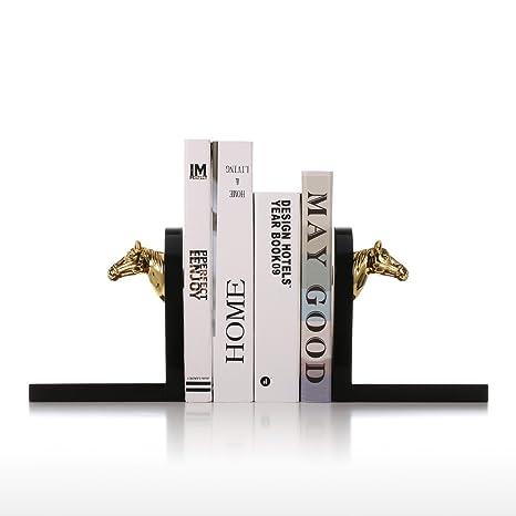 Tooarts Estanteria Sujetalibros de Madera Caballo Dorado Decoración para Oficina