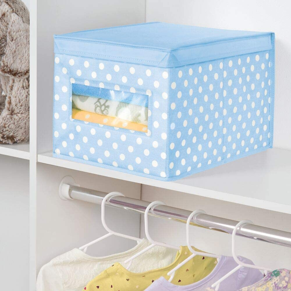 Polka Dot Pattern Playroom Clear Window and Lid mDesign Soft Stackable Fabric Closet Storage Organizer Holder Box Light Blue with White Dots Nursery for Child//Kids Room
