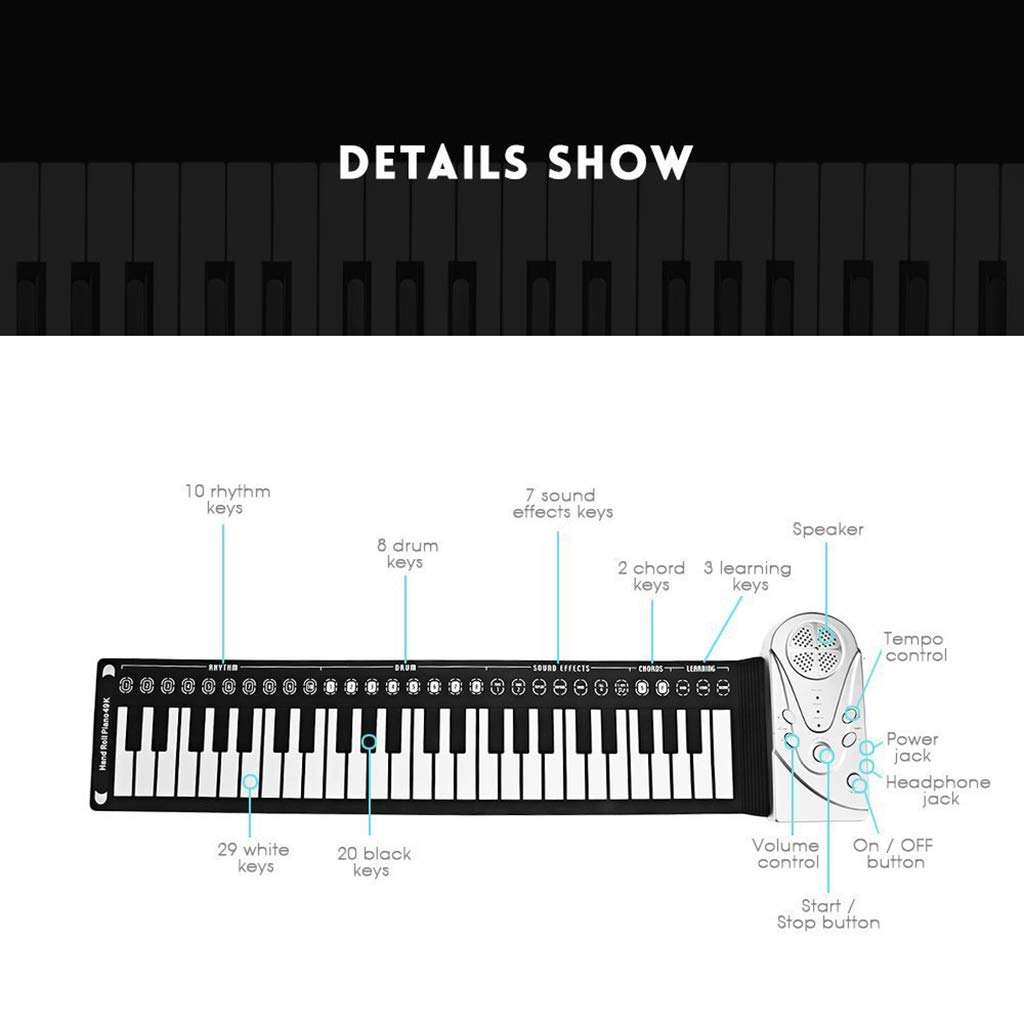 New Roll Up Piano Portable Children's Piano Electronic Digital Piano Keyboard 49-Key Silicone Rubber Recording Feature, Black by Anyer Piano (Image #2)