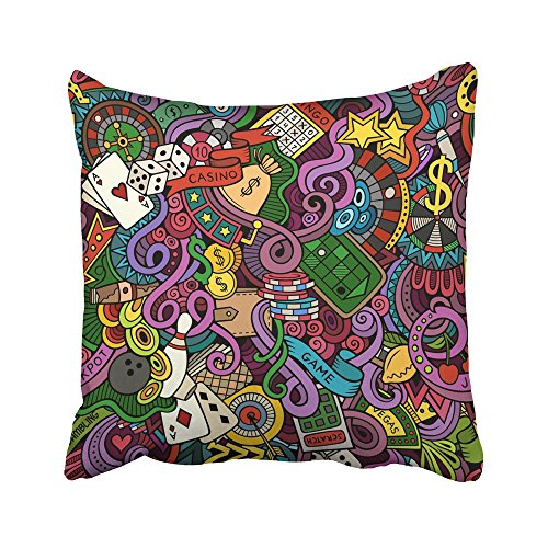 Emvency Decorative Throw Pillow Covers Cases Vegas Cartoon Doodles on the Subject of Casino Style Color Coins Poker Bar Bet Billiards Bingo 18x18 Inches Pillowcases Case Cover Cushion Two Sided]()
