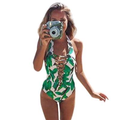 Jushye Women's Biklini Set, Ladies Monokini Swimsuit Push Up Bathing Suit Bikini One Piece Swimwear Beachwear Green