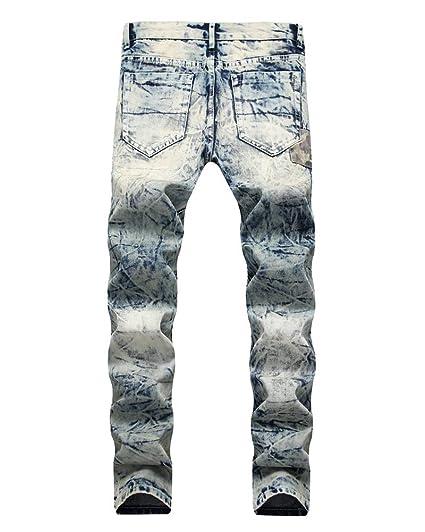 d8772f6612766 Kasen Jeans Homme Déchiré Fermeture Eclair Trou Biker Jeans Slim ...
