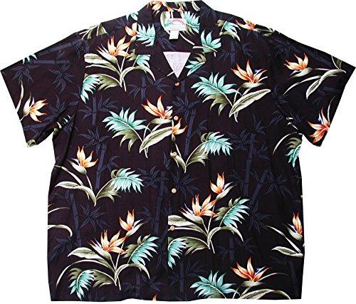 (Paradise Found Men's Bamboo Paradise Herringbone Rayon Shirt, Black, 4X)