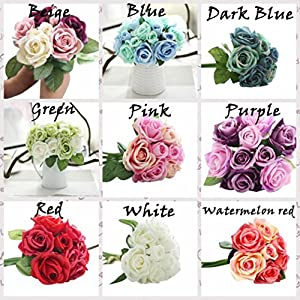 Tuscom Artificial Peony Silk Flowers,9 Heads Rose Bouquet Home Wedding Decoration Flowers Bunch Hotel Party Garden Floral Decor (Not Included Vase) (Green) 3