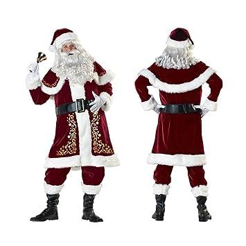 WEREIOV Disfraz De Papá Noel, 9PCS Lujo Navidad Fiesta ...