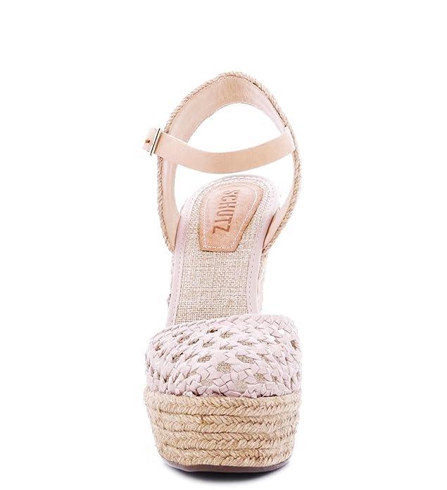 3e478eab9643 Amazon.com  SCHUTZ Truxton Lightwood Caged Nude Espadrille Closed Toe  Belatrix Wedge Sandal (10)  Shoes