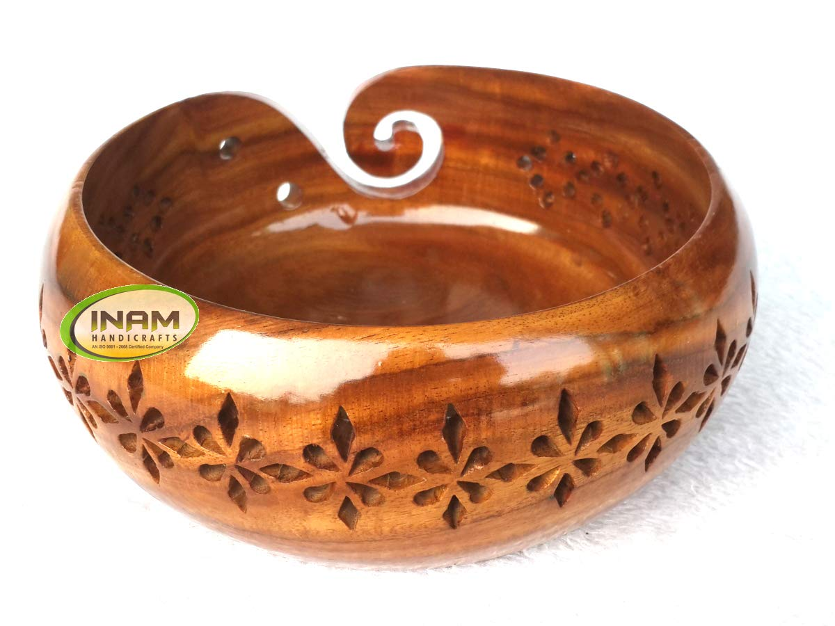 INAM HANDICRAFTS Sheesham Wood Crafted Wooden Yarn Storage Bowl With Carved Holes & Drills, Knitting Crochet Accessories, 7 x 7 x 4 inches