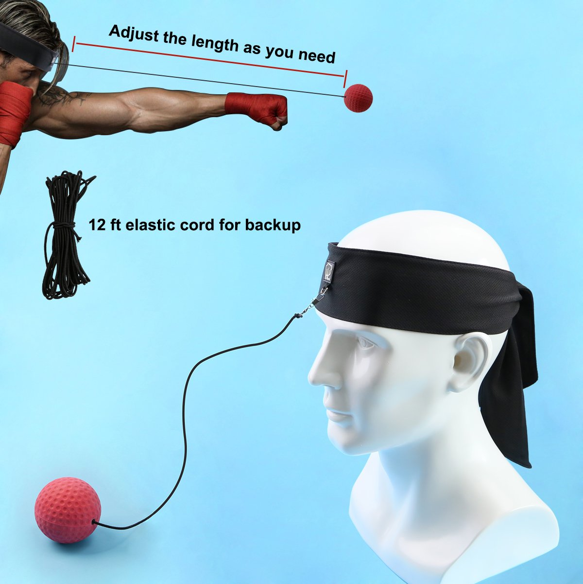 EZworkout Fight Ball Boxing Punching Training Pack with Headband for Reflex Speed Punch Exercise