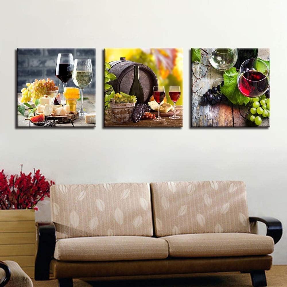 YANGMAN Lienzo Imprime Arte de la Pared, Licor Bodegón Pintura Cuadro Giclee impresión en Lienzo Moderna Cocina Sala Pub decoración de la Pared,NoFramed,30x30cmx3pcs