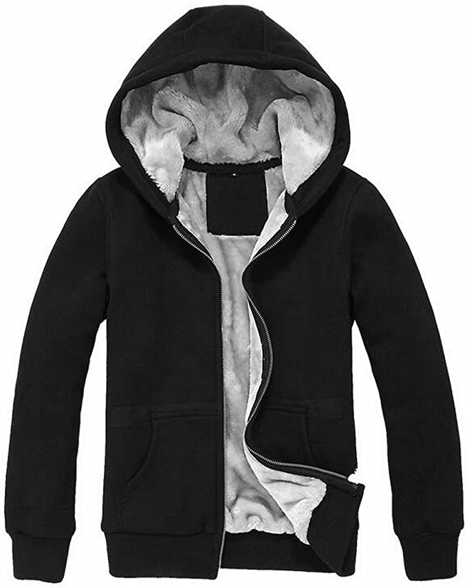 ARTFFEL Men Winter Warm Solid Faux Fur Lined Hoodie