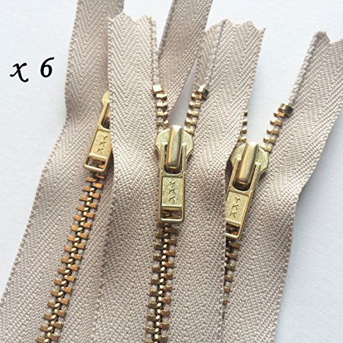 LOT: 6 YKK Closed End Zippers #5 - 572 Beige - 10