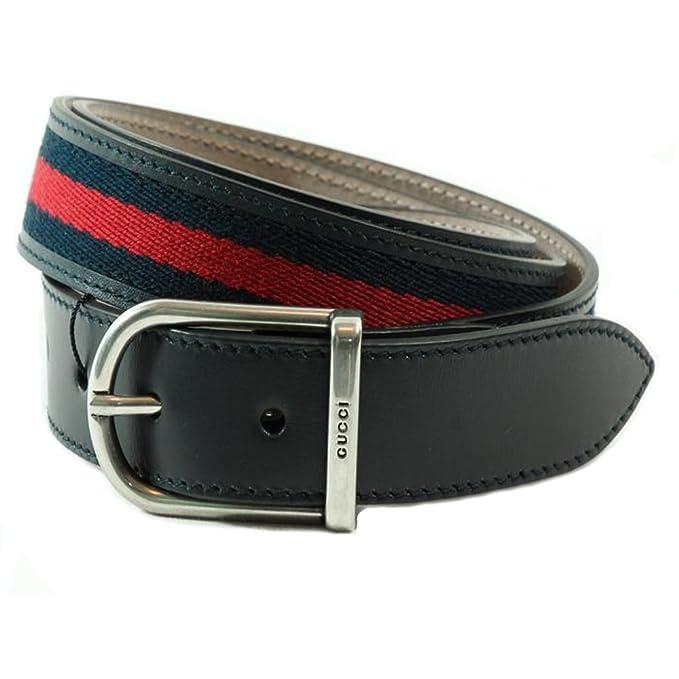 0128d0a7b47 Gucci Women s Web Leather Belt 368189 9497 (Blue Red