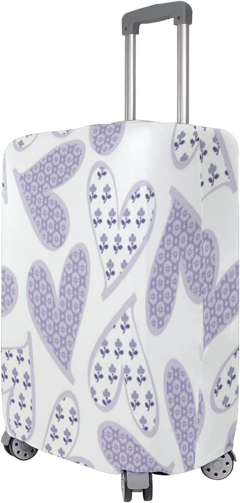 Luggage Protective Covers with Purple Hearts Washable Travel Luggage Cover 18-32 Inch