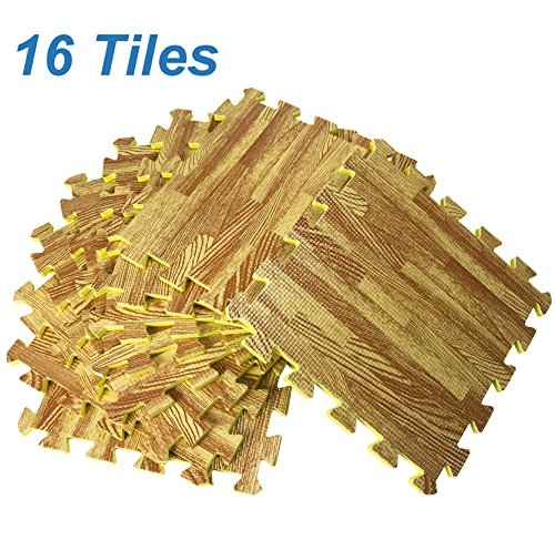 [Set of 16] Printed Wood Grain Floor Mat 3/8