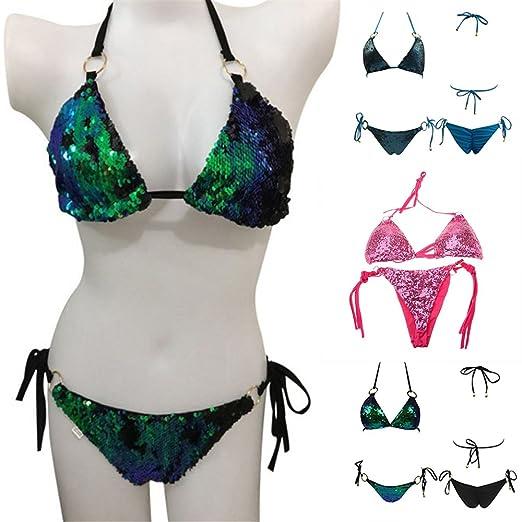 24739d8a013 Amazon.com: New-Hi Women Burgundy Plain Wire Free Sexy Two Piece Shiny  Sequin Halter Tie Back Bikini Set Padded Bra Bandage Swimsuit Bottom  Swimwear-Pink;S: ...
