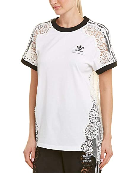 42fb84d9 Stella McCartney Womens Adidas 3-Stripe Lace T-Shirt, M White at ...