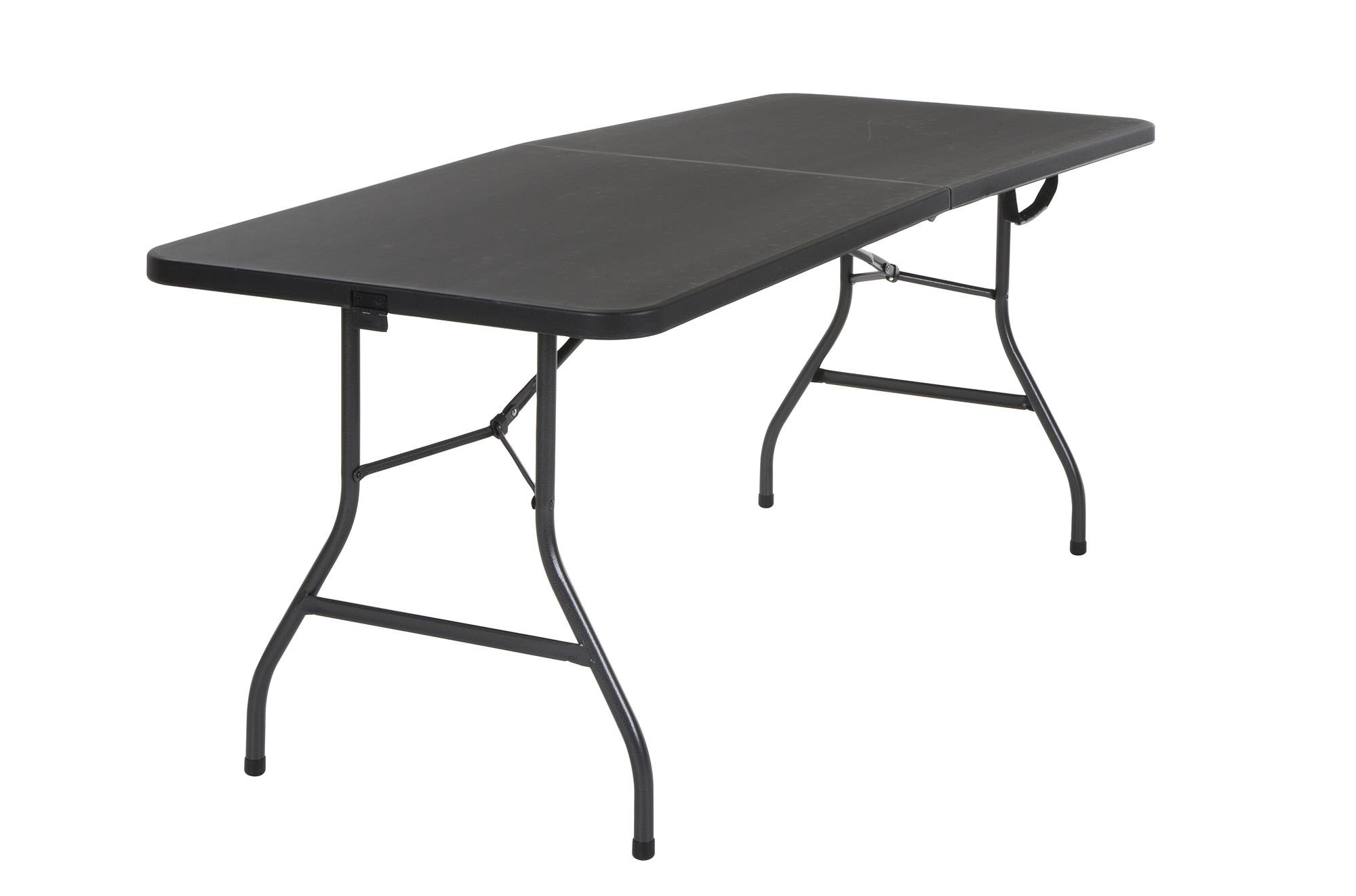Cosco Deluxe 6 Foot x 30 inch Fold-in-Half Blow Molded Folding Table, Black Black by Cosco
