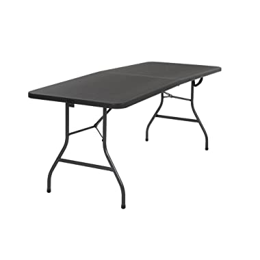 Cosco 14678BLK1 Deluxe 6 Foot x 30 inch Half Blow Molded Folding Table, Black, 72  (Rectangle),