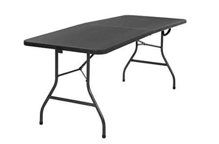 Cosco 14678BLK1 Deluxe 6 Foot x 30 inch Half Blow Molded Folding Table, Black, 72 Rectangle ,