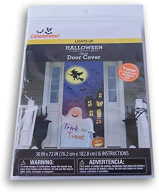 Spooky Town Light Up Pre-Timed Ghost Trick or Treat Door Cover - 30 x