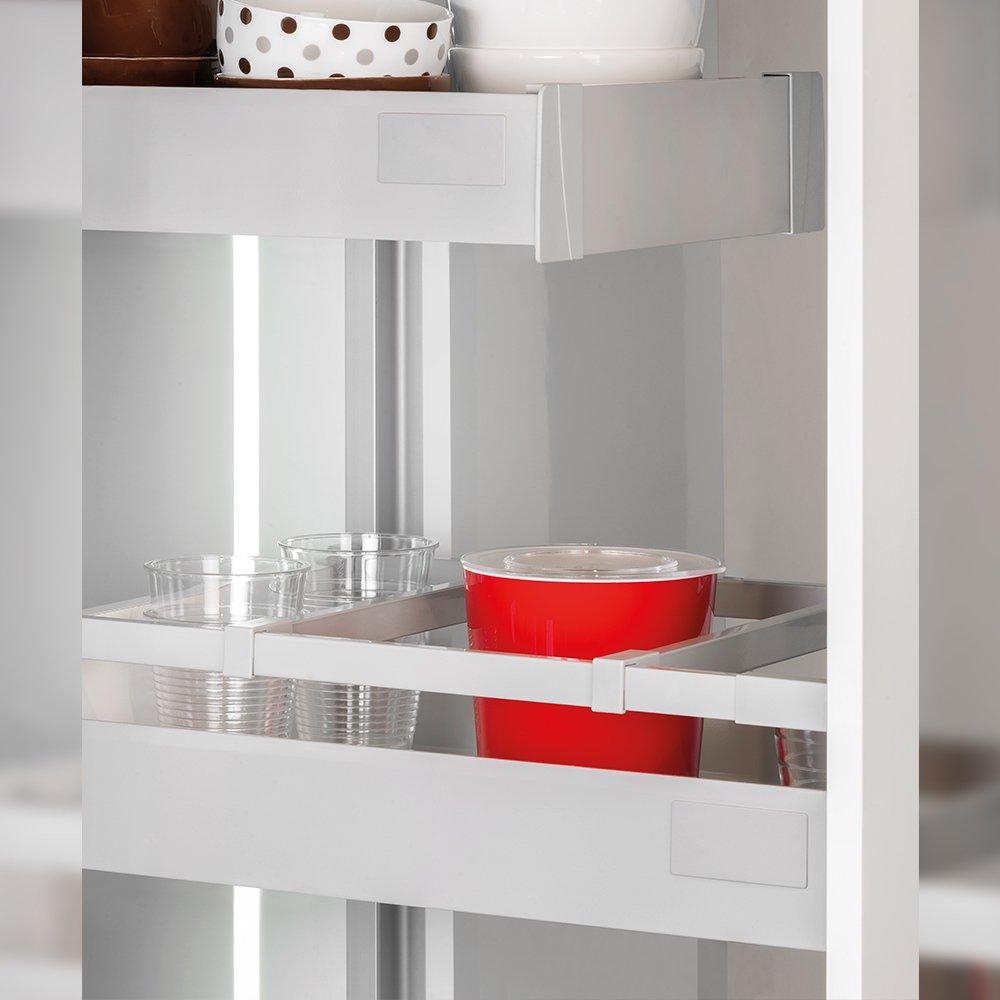 Emuca Kit de caj/ón para cocina o ba/ño con guias de extracci/ón total y cierre suave altura 141mm y profundidad 500mm Gris