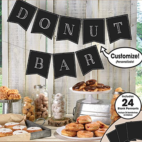 Amscan 120275 Party Supplies Customizable Chalkboard Paper Pennant Banner, 15ft, Multi Color