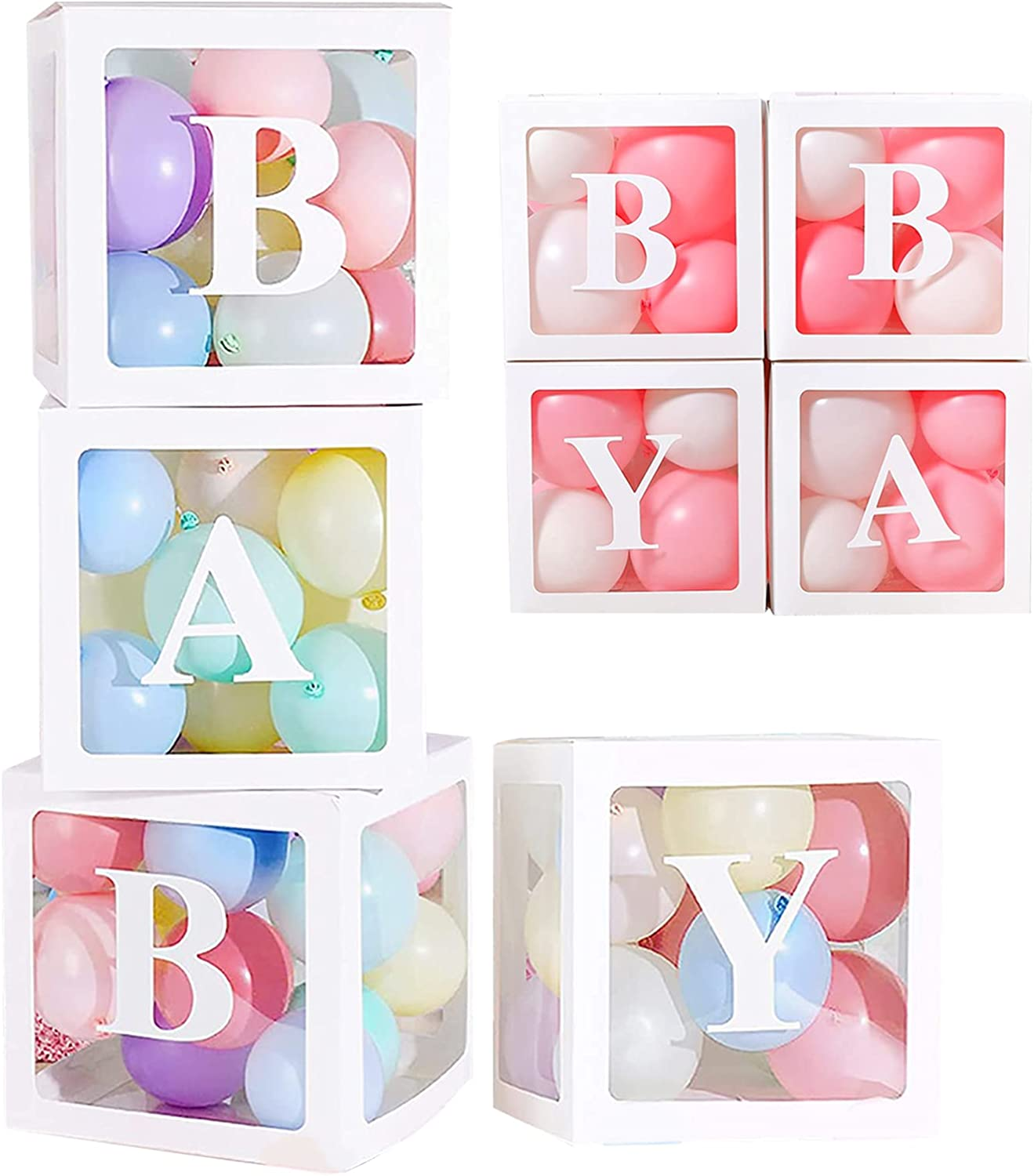 Hirsrian Balloon Box Set of 4 with Letters, Baby Shower Boxes Birthday Decor, Block Boxes Party Supplies for Baby Girls Boy Kids