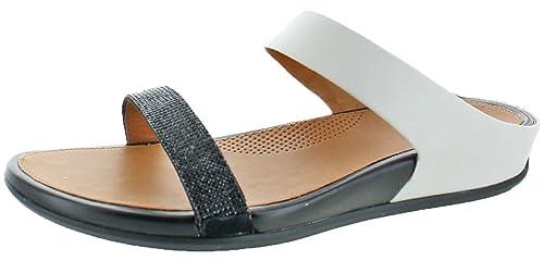 551f6d3e Sandalias de FitFlop Banda Deslizante de Cristal Micro de la Mujer, Negro  (Negro/Blanco), 9 B(M) US: Amazon.es: Zapatos y complementos