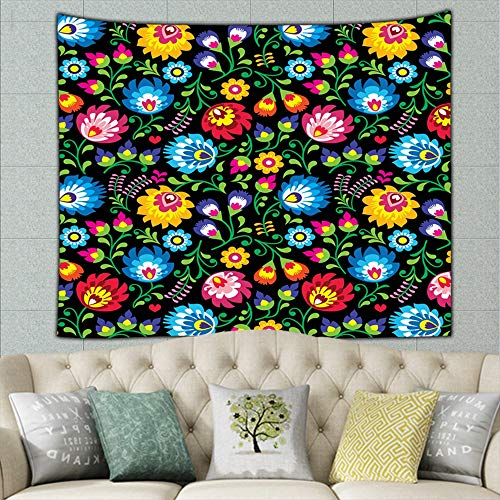 zuo chunhong5 Polish Folk Art Floral Vintage Tapestry Wall Hanging, Wall Tapestry with Art Nature Home Decorations for Living Room Bedroom Dorm Decor 50ʺ × 60ʺ