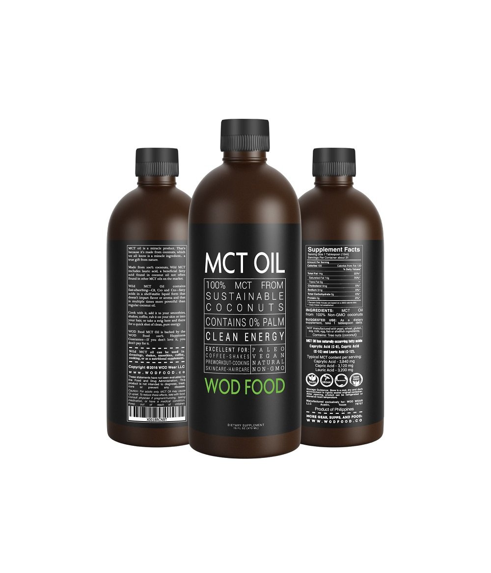 Premium MCT Oil - 100% Coconut Sourced, Ketogenic Diet and Paleo Optimized with Lauric Acid - C8/C10/C12 blend Brain Fuel Great For Smoothies, Butter Coffee, Chai Latte and Shakes