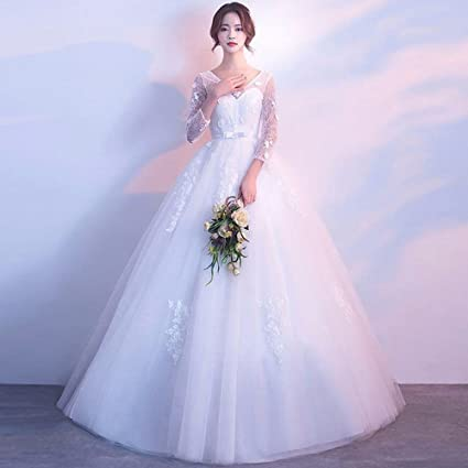 6dc3b5d241d SLR Wedding Dress Korean Bride Married high Waist Large Size Long Sleeves  Thin Qi Princess Spring