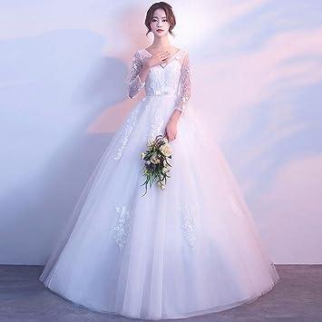 SLR Vestido de Novia Coreano Novia se casó con Cintura Alta de Manga Larga de Gran