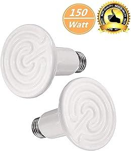 BOEESPAT Ceramic Heat Emitter 250W/150W/100W/60W Reptile Ceramic Heat Lamp Brooder Coop Pet Infrared Ceramic Lamp Bulb